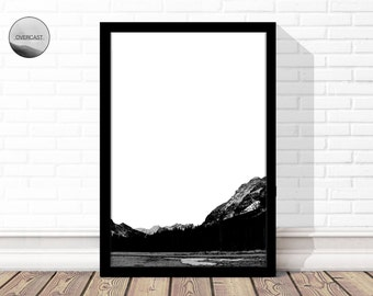 Mountain Print | Mountain Photography | Abstract Mountains | Digital Wall Art | Printable Wall Art | Canadian Print | Simple Print | B&W