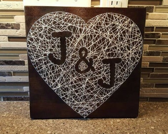 Heart with initials, nail string art