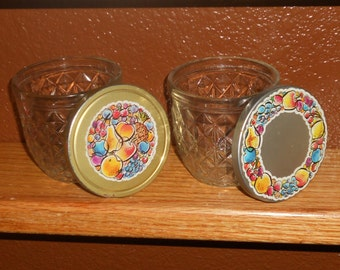 Vintage 8 oz. Jelly Jars - Ball Jars - Quilted Crystal - Metal Lids - Set of Two  - Ball Jelly Jars