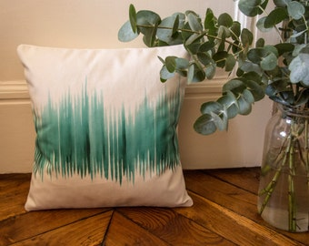 Square cushion velvet printed exclusive Elma - Emerald forest