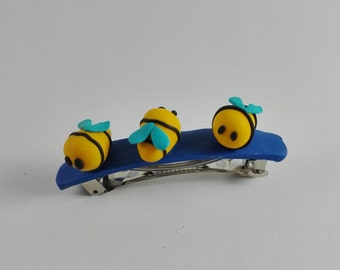 Polymer Clay Handmade Little Bees Hair Barrette, Cute girly Hair Accessory, Gift for kid/toddler girl
