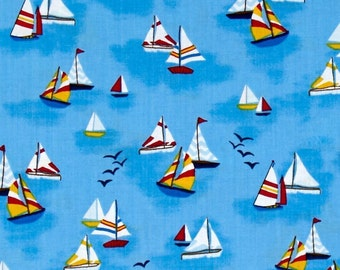 Colorful Sailboats Nautical Timeless Treasures Quilt Fabric By The Yard BTY Sail Boat Regatta Ocean