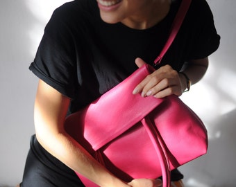 Pink tote bag of genuine leather gabrielle_27