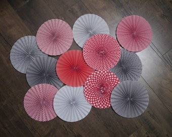 Handmade Red and Gray Paper Rosettes - Pinwheels - Wedding Decorations - Wedding Backdrop - Paper Fans - Bridal Shower - Baby Shower