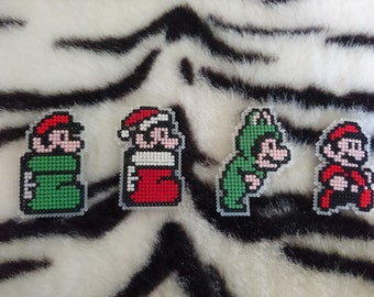 Cross Stitch Mario Badges