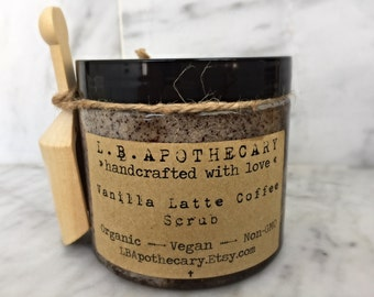 Organic Vanilla Latte Sugar Scrub / Coffee Scrub / Skin Tightening / Sugar Scrub / Vegan Sugar Scrub / Coffee Lovers Gift / Birthday Gift
