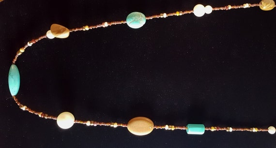Turquoise Tan Jasper Long Necklace / Pictured Jasper and Turquoise and Pearl Necklace / Hippie Necklace / Boho Jewelry /NS61007