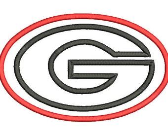 5 sizes Georgia Bulldog Applique Designs, University Of Georgia Applique Design, Machine Embroidery Design, Instant Download