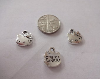 Hello Kitty Face Pendant Tibetan Charms Bright Silver Plated with Antiqueness 13mm x 12mm