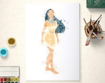 Pocahontas, Disney Princess, Pocahontas Poster, Watercolour Art, Printable Instant Download