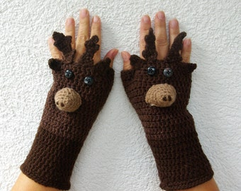 "50% OFF Crochet Gloves: ""ANIMAL GLOVES"" Fingerless Gloves Brown Reindeer Gloves Hand Warmers Hand Knit Reindeer Mittens Winter accessory A19"