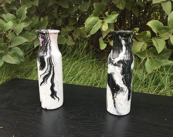 Black and white hand painted vases
