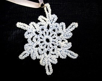 Baby-Blue Crocheted Handmade Snowflake Christmas Decoration Ornament