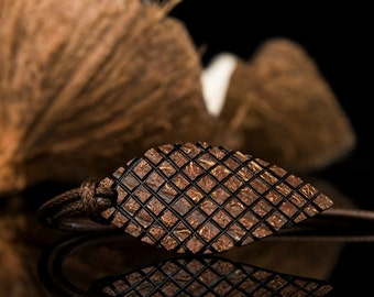 """Gift For Him, Hand Carved Leaf Pendant """"Castor"""" From Coconut Shell, Ethno, Natural, Wood Pendant, Art Boho Pendant, Coconut Handmade Jewelry"""