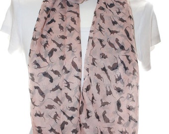 Silky pink cat Scarf shawl, Beach Wrap, Cowl Scarf,cat print scarf, cotton scarf, gifts for her