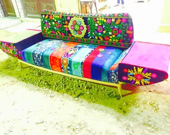 Patchwork sofa with suzani