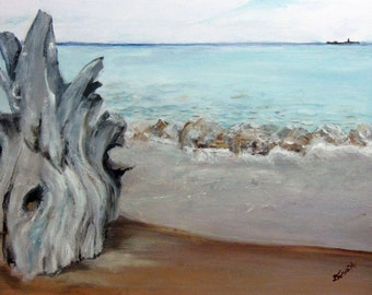 LAKE MICHIGAN SHORELINE Landscape Original Oil Painting Disabled Artist Art