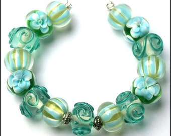 Beads, Lampwork Beads, 15pc set, Approx. 12-15mm diameter (approx. 2mm hole size), b11791