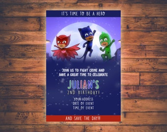 PJ Masks Customized Birthday Invitation