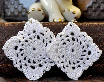 Crochet White Granny Square Dangle Earrings