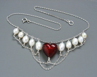 Valentines Day Gift Heart In Chains Historical Necklace With Garnet Red Murano Heart And Large Freshwater Pearls Mounted in Sterling Silver