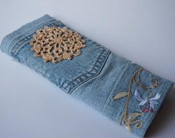 Denim pencil case denim pouch roll case jeans pencil case travel bag jeans roll bag organizer crochet motif