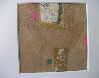 Asian Collage Original Abstract Collage Mixed Media Chinese Japanese Vintage Postcard