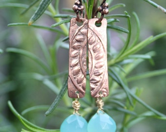 Blue Chalcedon and patterned copper earrings