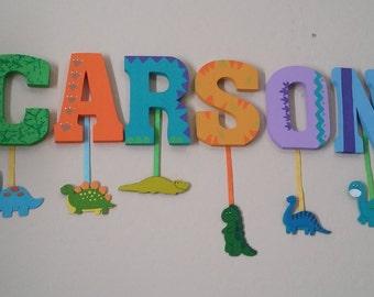 Dinosaur Letters, dangling dinos, nursery wall decor, custom, reptiles