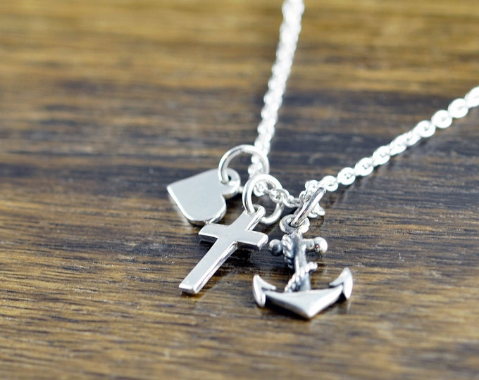 Faith Hope Love Necklace - Heart Anchor Cross Charm-  Baptism Gift - Christening  - Confirmation - Communion Gift Jewelry - Sterling Silver
