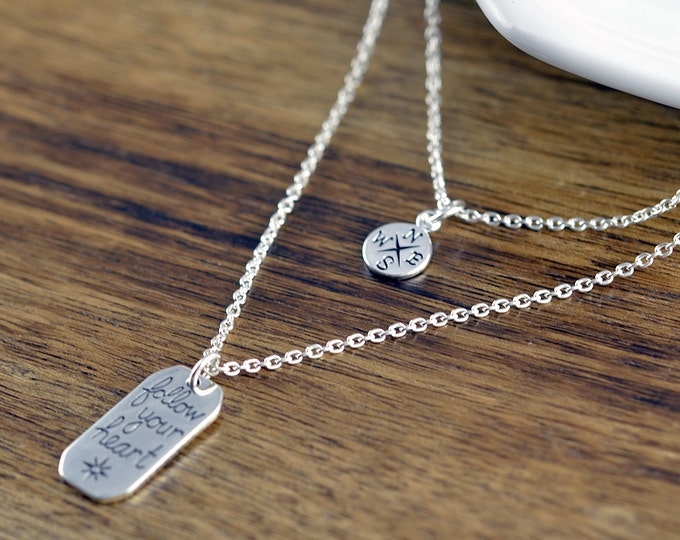Sterling Silver Compass Necklace - Tiny Compass Charm - Wanderlust Necklace - Follow Your Heart - Inspirational Personalized  Gift