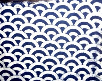 Indigo Hand Block Print 100% Cotton Fabric, Blue and White Crescent Shapes