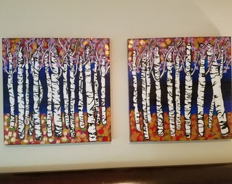 Abstract Birch Tree Painting
