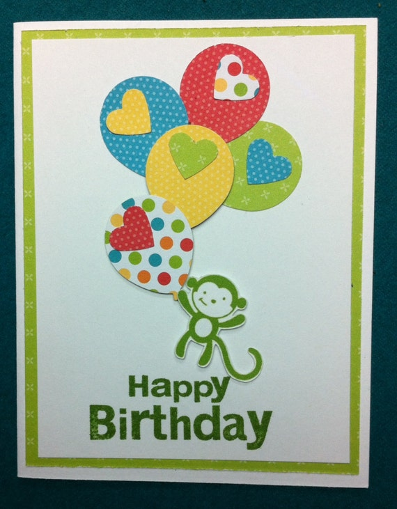 Stampin Up Birthday Cards For Kids ~ Handmade stampin up kids birthday card hanging monkey
