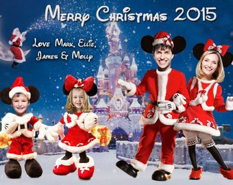 mickey mouse christmas card mickey and minnie mouse family photo christmas card disney christmas card disney holiday card cartoon card