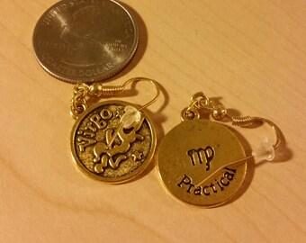 Gold Virgo earrings zodiac sign