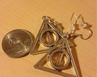 Large Deathly Hallows earrings Harry Potter