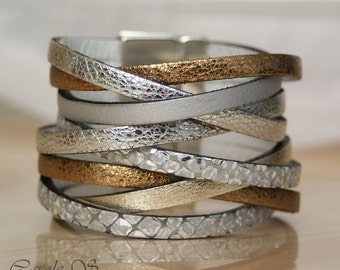 Silver and gold leather Cuff Bracelet