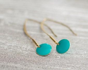 "Earrings long thin Golden ""Nosy Be"" green turquoise"