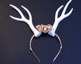 Antler Doe Fawn Headband Headpiece Wedding Gold White Floral Festival Cosplay