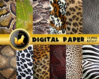 Animal Skin Paper,Animal Skin Scrapbook Paper,Animal Skin Background,Animal Background,Animal Backdrop,scrapbook paper,Zebra,Tiger,Snake,Art