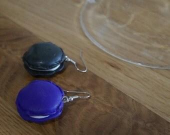 Gourmet Earrings: purple and black - macaroons Macaroon earrings
