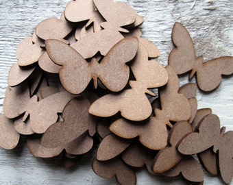 Butterfly x 50 Mini Wooden Embellishment Craft Project Scrap Booking Card Making Shape Blank