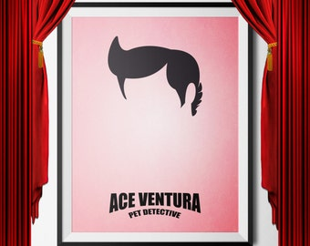 Ace Ventura Movie Poster, digital download, art, minimalist, cinema, movies, jpg, jim carrey, shikaka, pet detective