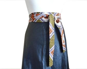 African Print Waist Belt, Obi, Sash, Brown Ankara