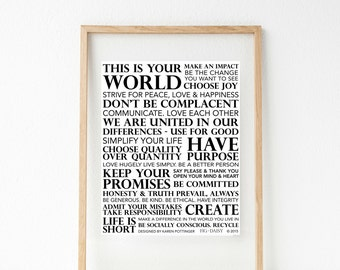Your World - Typography Print - Wall Decor - Lettered Print - Hanging Wall Art - Inspirational Download - Home Decor - Printable Wisdom