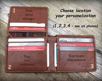 Personalized Wallet for Dad - Christmas Gift - Father of Bride Gift - Father of Groom Gift - Mens Leather Wallet - Bifold for Him -Tof- 7751