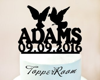 Custom Wedding Cake Topper, Bride & Groom Bird Wedding Cake Topper, Cake Topper with Pigeon, Cake Topper with surname, mr and mrs (1030b)
