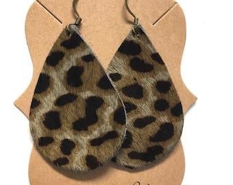 Leopard Leather Statement Earrings