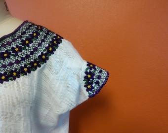 Veronica Prida Hand Embroidered White Guatemalan Blouse-Purple Trim